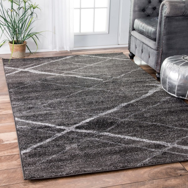 Silver Orchid Spencer Contemporary Abstract Dark Grey Area Rug 8 X27