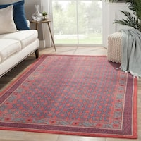 Hand-Knotted Borders Red Area Rug (8' X 10') - 8' x 10'