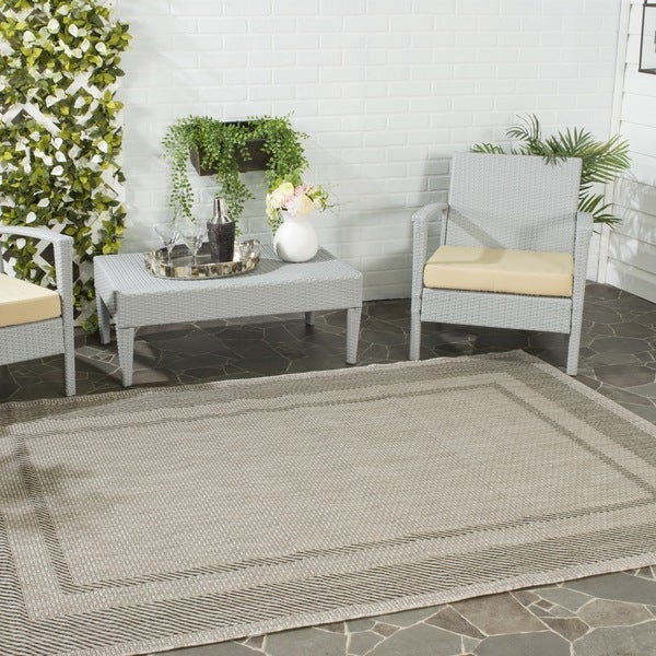 Safavieh Indoor/ Outdoor Courtyard Beige/ Black Rug - 9' x 12'