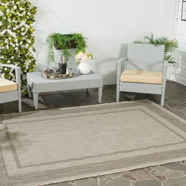 Safavieh Indoor/ Outdoor Courtyard Beige/ Black Rug - 8' X 11'