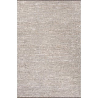 Nikki Chu Naturals Solid Pattern Gray Jute and Polyester Area Rug (8x10)