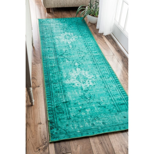 Nuloom Vintage Inspired Adileh Overdyed Turquoise Runner