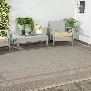 Safavieh Indoor/ Outdoor Courtyard Beige/ Brown Rug (8' x 11')