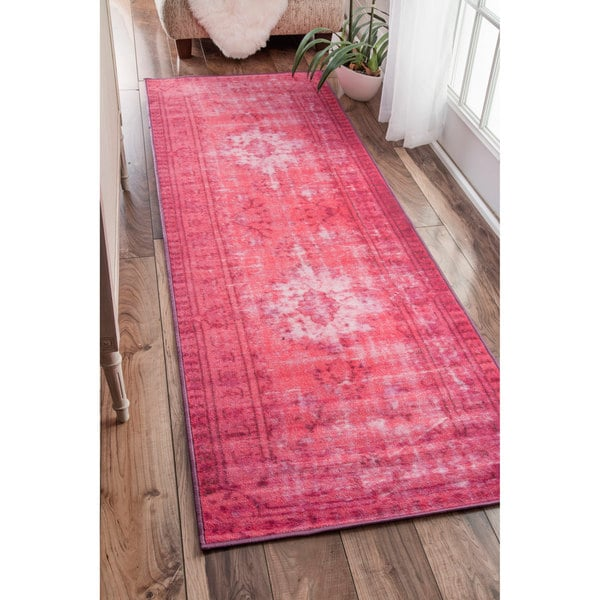 Shop Nuloom Vintage Inspired Adileh Overdyed Pink Runner