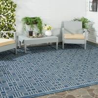 Safavieh Indoor/ Outdoor Courtyard Navy/ Grey Rug - 9' x 12'