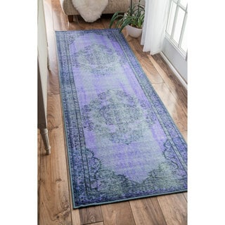 nuLOOM Vintage Inspired Fancy Overdyed Purple Runner Rug (2'8 x 8')
