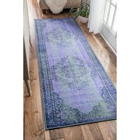 Nuloom Vintage Inspired Fancy Overdyed Turquoise Runner