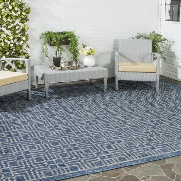 Safavieh Indoor/ Outdoor Courtyard Navy/ Grey Rug (8' x 11')