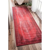 The Curated Nomad Byxbee Vintage Overdyed Red Runner Area Rug - 2' 8 x 8'