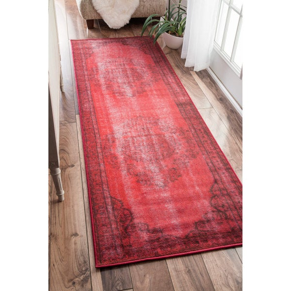 Nuloom Vintage Inspired Fancy Overdyed Red Runner Rug 2 8