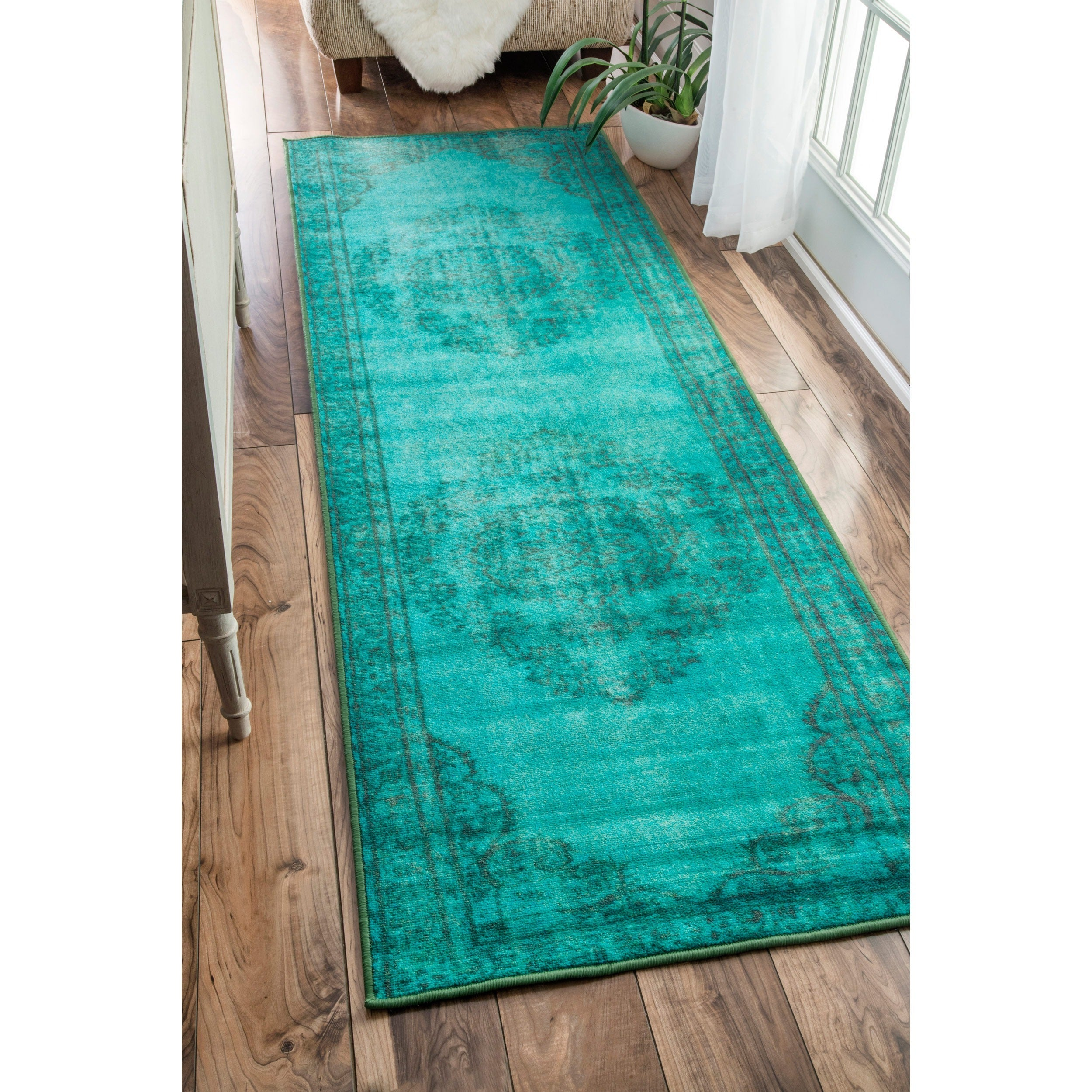Nuloom Vintage Inspired Turquoise Overdyed Rug: Shop NuLOOM Vintage Inspired Fancy Overdyed Turquoise