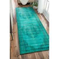 The Curated Nomad Byxbee Vintage Overdyed Turquoise Runner Area Rug - 2'8 x 8'