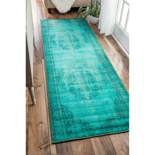 Turquoise Runner Rug: NuLOOM Vintage Inspired Fancy Overdyed Turquoise Runner