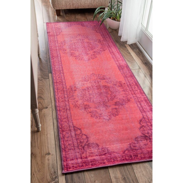Nuloom Vintage Inspired Turquoise Overdyed Rug: NuLOOM Vintage Inspired Fancy Overdyed Pink Runner Rug (2