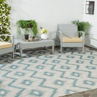 Safavieh Indoor/ Outdoor Courtyard Grey/ Blue Rug (9' x 12')