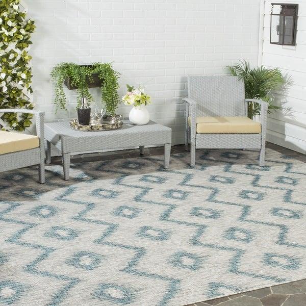 Safavieh Indoor/ Outdoor Courtyard Grey/ Blue Rug (9' x 12')