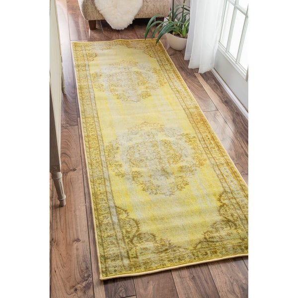 NuLOOM Vintage Inspired Fancy Overdyed Funky Yellow Runner