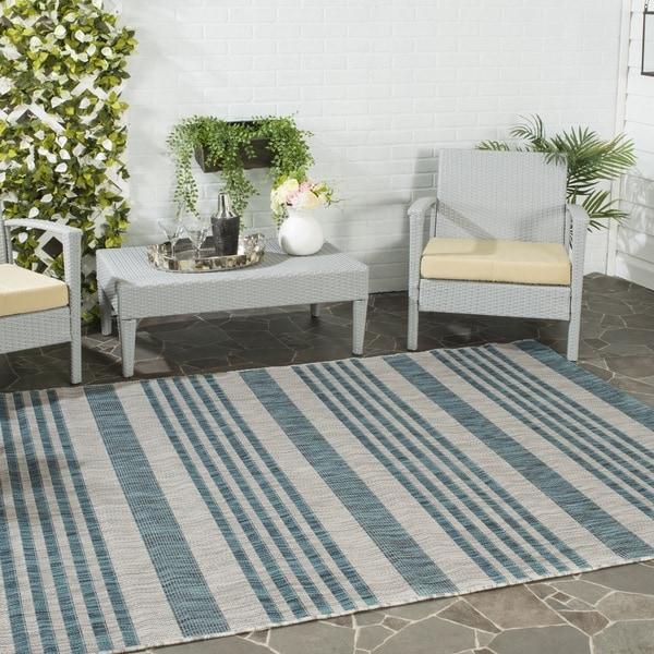 Safavieh Indoor/ Outdoor Courtyard Grey/ Blue Rug - 8' x 11'