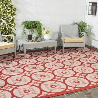 Safavieh Indoor/ Outdoor Courtyard Beige/ Red Rug (8' x 11')