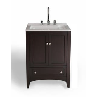 Stufurhome 24 inch Espresso Laundry Utility Sink