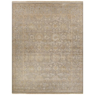 Luxury Oriental Pattern Gray/Ivory Wool and Silk Area Rug (10x14)