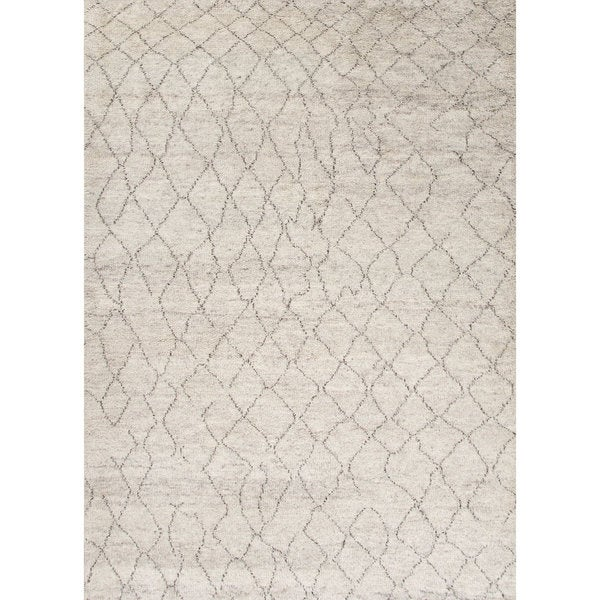 "Antalya Hand-Knotted Geometric Cream/ Brown Area Rug (9'6"" X 13'6"")"