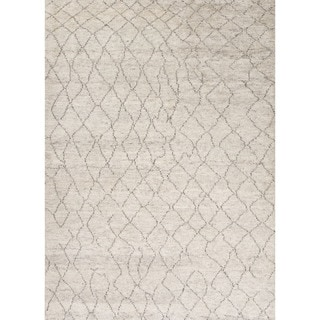 Contemporary Tribal Pattern Ivory/Brown Wool Area Rug (9.6x13.6)