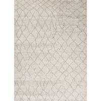 Antalya Hand-Knotted Geometric Cream/ Brown Area Rug - 10' x 14'