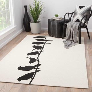 Indoor/Outdoor Abstract Pattern Ivory/Black Polypropylene Area Rug (2x3)
