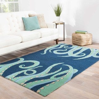 Indoor/Outdoor Coastal Pattern Blue/Green Polypropylene Area Rug (2x3)