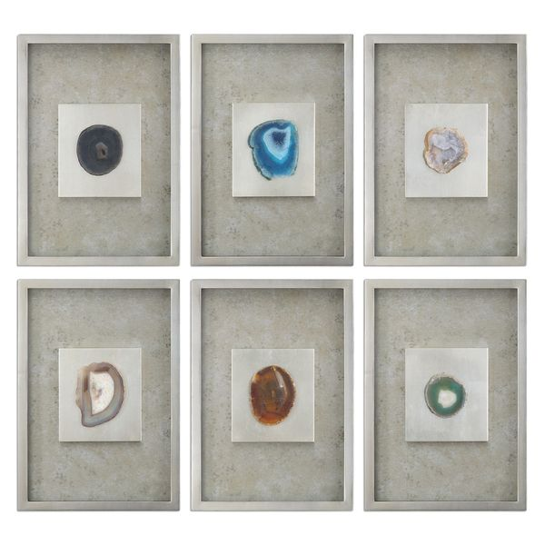 Shop Agate Stone Silver Wall Art (Set of 6) - 19.5 x 13.5 - Free ...