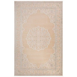Classic Medallion Pattern Ivory/Beige Rayon Chenille Area Rug (2x3)