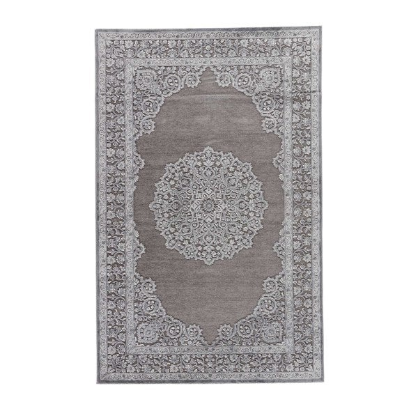Everly Medallion Gray/ Silver Area Rug (2' X 3')