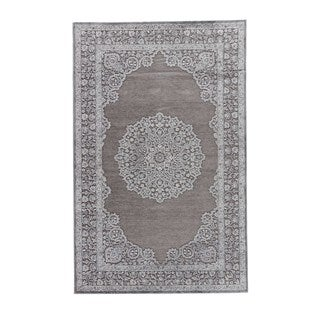 Classic Medallion Pattern Gray Rayon Chenille Area Rug (2x3)