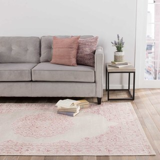 Everyly Medallion Pink/ White Area Rug (2' X 3')