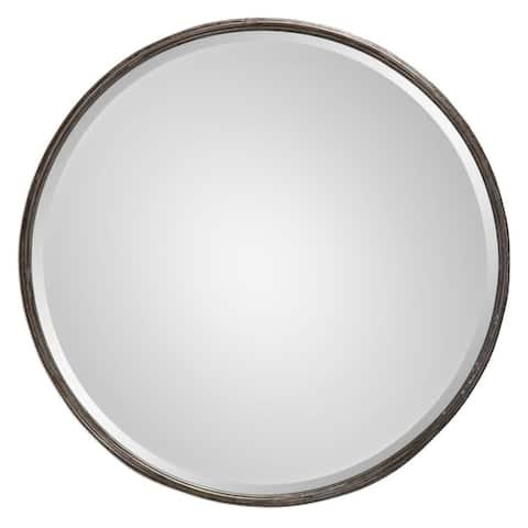 Nova Round Metal Mirror - Grey - 24x24x3