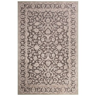 Contemporary Oriental Pattern Gray Rayon Chenille Area Rug (2x3)