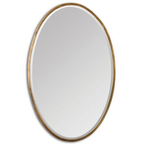 Herleva Gold Oval Mirror - Antique Gold - 17.75x28x1.125