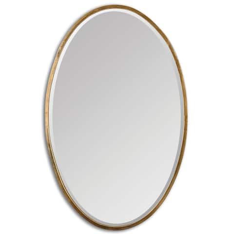 Herleva Gold Oval Mirror - Antique Gold - 17.75x28x1.125
