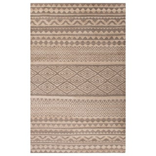 Contemporary Tribal Pattern Natural/Brown Wool Area Rug (2x3)