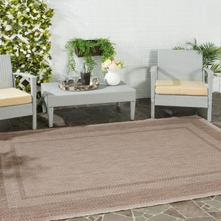 Safavieh Indoor/ Outdoor Courtyard Beige/ Brown Rug (6'7 x 9'6)