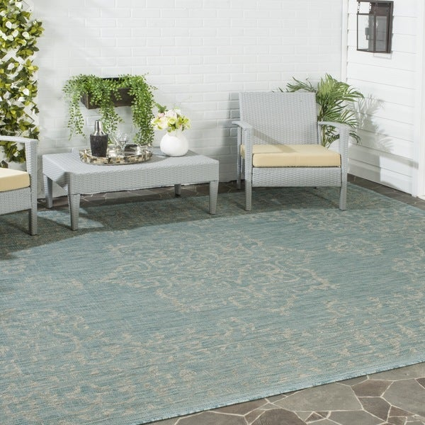 Safavieh Indoor Outdoor Courtyard Aqua Grey Rug 5 3 X