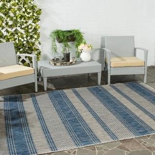 Safavieh Indoor/ Outdoor Courtyard Grey/ Navy Rug (5'3 x 7'7)