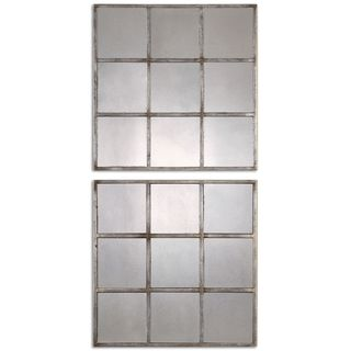 Derowen Squares Antique Mirrors (Set of 2) - Silver - 18.375x18.375x1.375