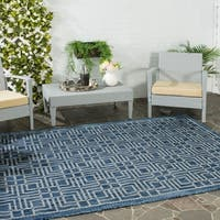 Safavieh Indoor/ Outdoor Courtyard Navy/ Grey Rug - 5'3 x 7'7