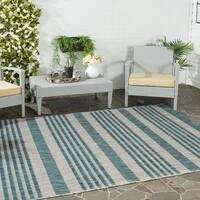 Safavieh Indoor/ Outdoor Courtyard Grey/ Blue Rug - 6'7 x 9'6