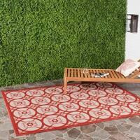 Safavieh Indoor/ Outdoor Courtyard Beige/ Red Rug - 6'7 x 9'6
