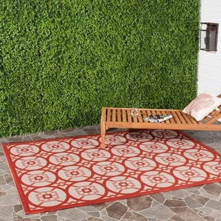 Safavieh Indoor/ Outdoor Courtyard Beige/ Red Rug (5'3 x 7'7)