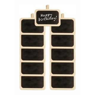 Wald Imports Natural Wood Chalkboards with Clothespin Clip and 1 Chalkboard Pen - Set of 12, Size: 4 x 2.5 in