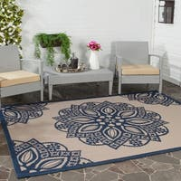 Safavieh Courtyard Floral Medallion Beige/ Navy Indoor/ Outdoor Rug - 5'3 x 7'7